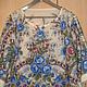 Павловопосадский платок Весеннее утро голубые цветы. Блузка из тонкой шерсти, рукав рубашечный 3/4,  цвет белый, молочный, р.46-50. Сделаю на заказ