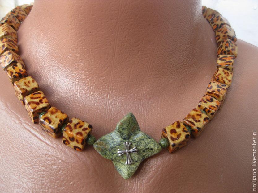 Choker earrings Wood and Coil Cross 'klinovidnye' - Slavic, Chokers, Moscow,  Фото №1