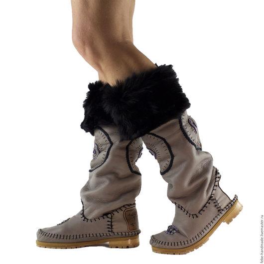 Обувь ручной работы. Ярмарка Мастеров - ручная работа. Купить Зиние сапоги с элементами вышивки STELLA /серые/ 39 в наличие. Handmade.