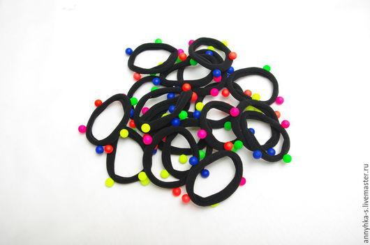 Для украшений ручной работы. Ярмарка Мастеров - ручная работа. Купить Резинка основа (  черная с цветными шариками ). Handmade.