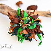 Украшения handmade. Livemaster - original item Brooch leather Forest green chocolate emerald tale. Handmade.