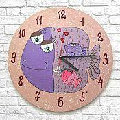 Для дома и интерьера handmade. Livemaster - original item Wall clock Fish - mom. Watch as a gift. Handmade.