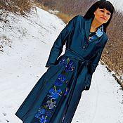 Платье клеш с вышивкой шелком (127)