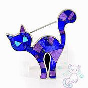 Украшения handmade. Livemaster - original item Brooch Kitty. Exclusive brooch with lapis lazuli, charoite and turquoise.. Handmade.