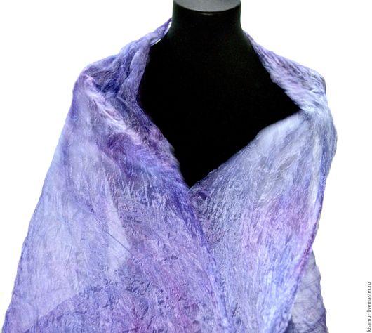 Шарфы и шарфики ручной работы. Ярмарка Мастеров - ручная работа. Купить шарф шелковый лавандово сиреневый  ручная окраска натуральный шёлк. Handmade.