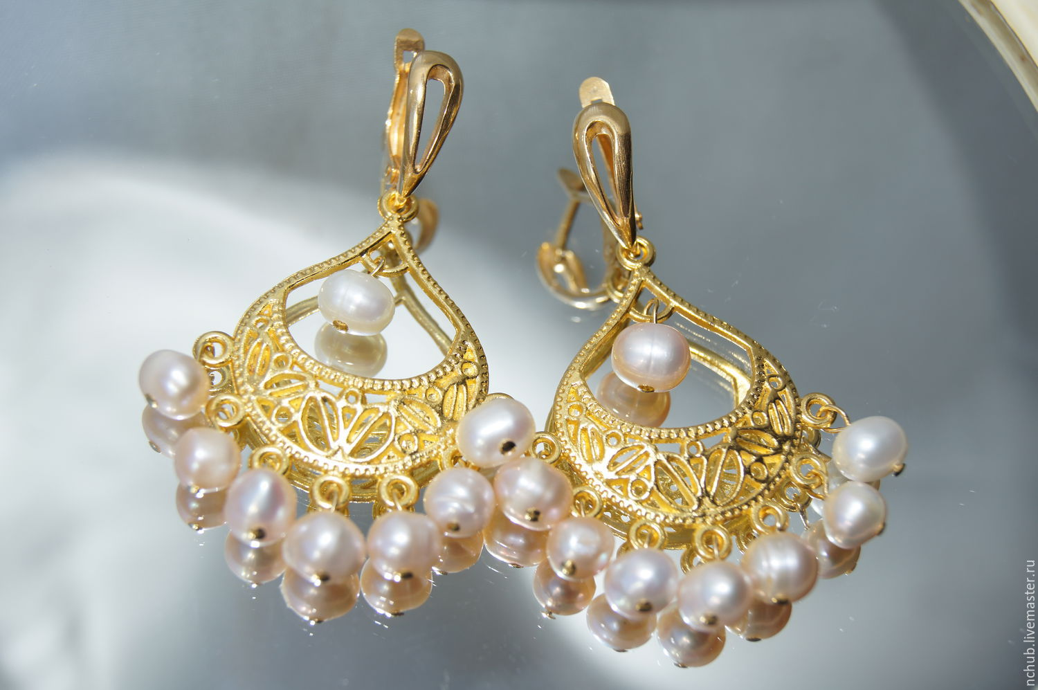 Lush chandelier earrings with natural pearls, Earrings handmade, Moscow, Фото №1