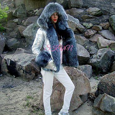 Одежда ручной работы. Ярмарка Мастеров - ручная работа Куртка-бомбер с мехом чернобурки. Handmade.