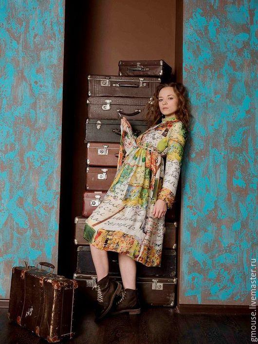 Платья ручной работы. Ярмарка Мастеров - ручная работа. Купить Платье из шифона КАРТА. Handmade. Салатовый, платье миди