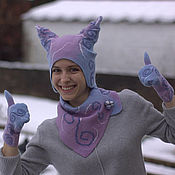 Аксессуары handmade. Livemaster - original item Felted Hat, Scarf, Mittens Set, Felt hat neckwarmer gloves set. Handmade.