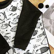Одежда ручной работы. Ярмарка Мастеров - ручная работа Платье-свитшот с рыбами.. Handmade.