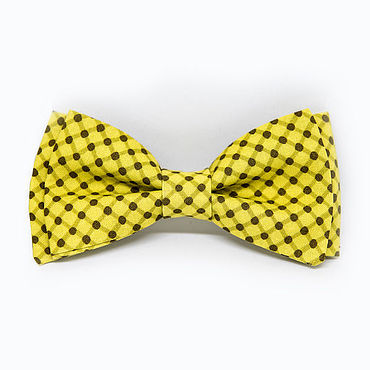 Accessories handmade. Livemaster - original item Mustard bow tie in brown dot. Handmade.