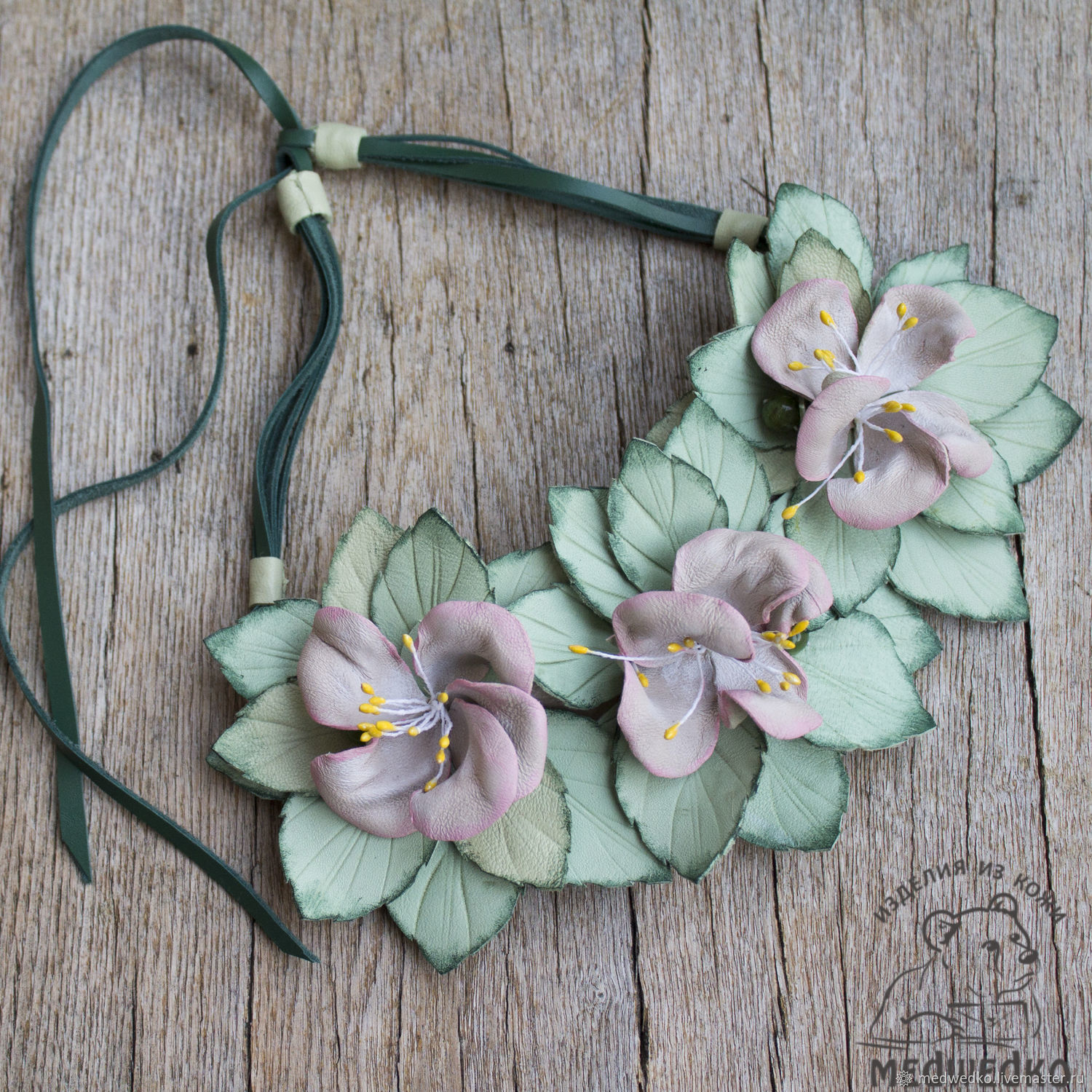 Necklace leather Apple blossoms, Necklace, Vidnoye,  Фото №1