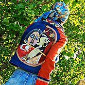 Одежда ручной работы. Ярмарка Мастеров - ручная работа БОХО жакет с вышивкой и ручной росписью (№331). Handmade.
