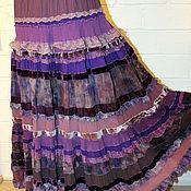 Одежда ручной работы. Ярмарка Мастеров - ручная работа Многоярусная ,живописная фиолетово-сиреневая юбка в стиле бохо-шик. Handmade.