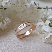 Украшения handmade. Livemaster - original item ring with cubic Zirconia. Gold 585.. Handmade.