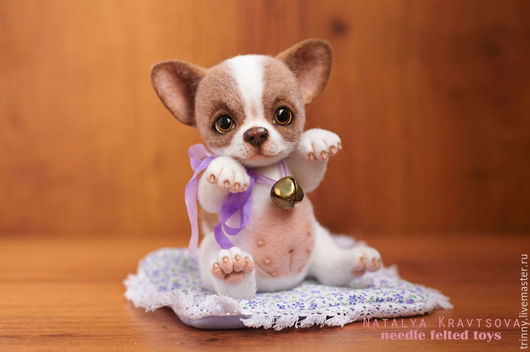 Валяная портретная игрушка щенок чихуахуа, редкий экземпляр. Войлочная подвижная игрушка в стиле тедди