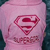"""Одежда ручной работы. Ярмарка Мастеров - ручная работа Именной халат с вышивкой """"Supergirl"""". Handmade."""