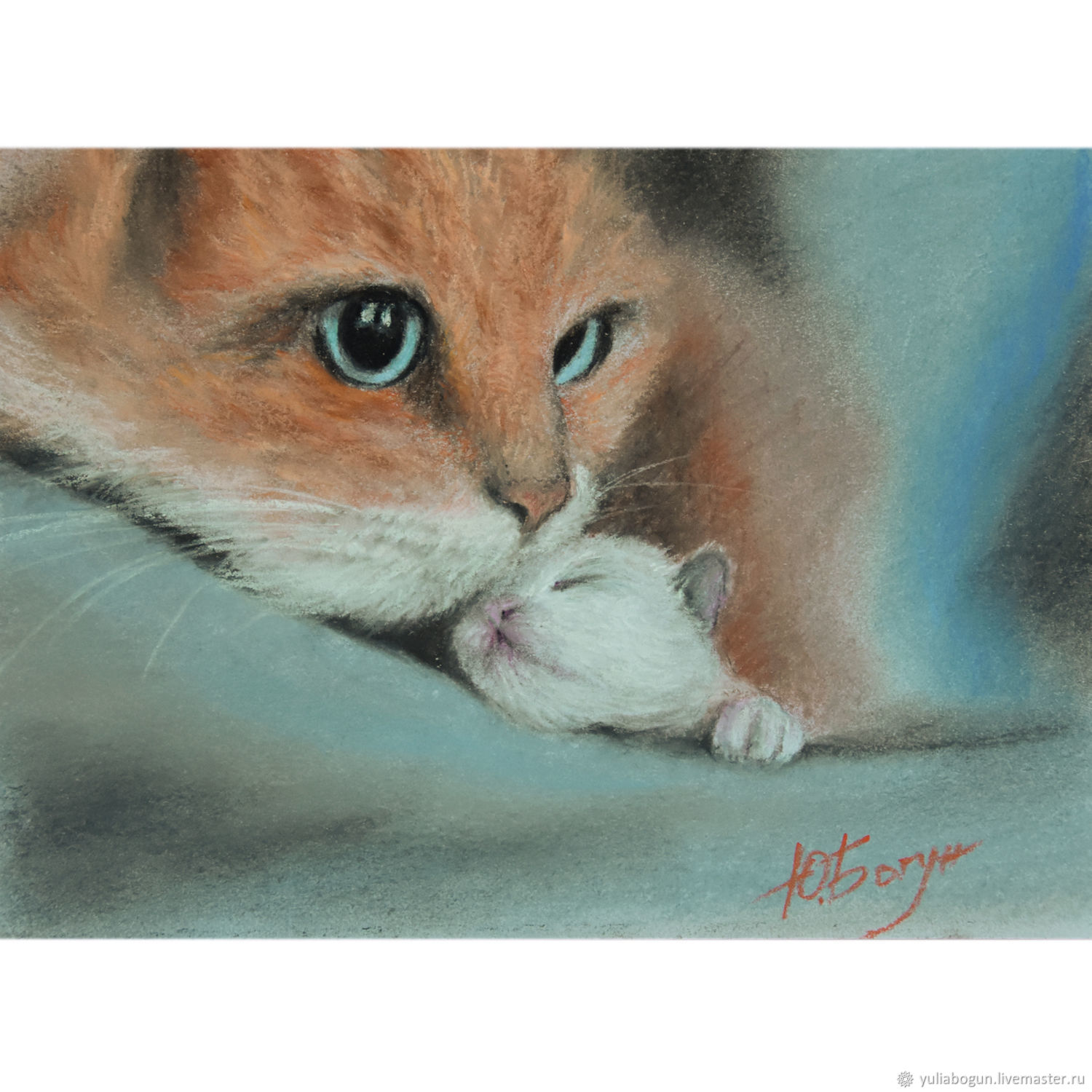 The pastel 'mother's joy' a cat with a kitten, Pictures, Belorechensk,  Фото №1