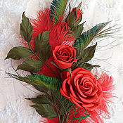 """Украшения ручной работы. Ярмарка Мастеров - ручная работа Розы из кожи """"Кармелита"""". Handmade."""