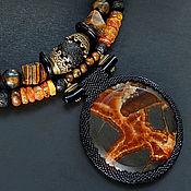 """Украшения ручной работы. Ярмарка Мастеров - ручная работа Колье """"Серенгети"""" - септария, янтарь, лава, тигровый глаз, шунгит, рог. Handmade."""