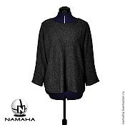 Одежда ручной работы. Ярмарка Мастеров - ручная работа Джемпер женский тёмно-серый, тёплый свитер, свитшот женский тёплый. Handmade.