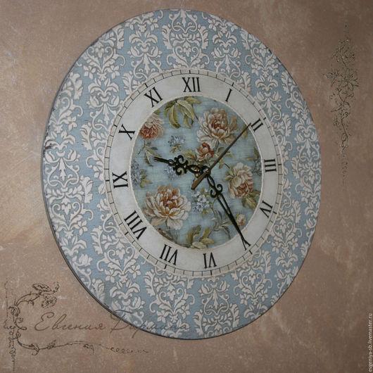 Часы для дома ручной работы. Ярмарка Мастеров - ручная работа. Купить Часы голубые с арабесками. Handmade. Голубой, часы декупаж
