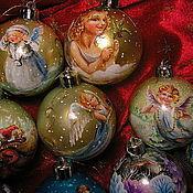 Подарки к праздникам ручной работы. Ярмарка Мастеров - ручная работа НОВОГОДНИЕ ёлочные шары с ручной росписью. Handmade.