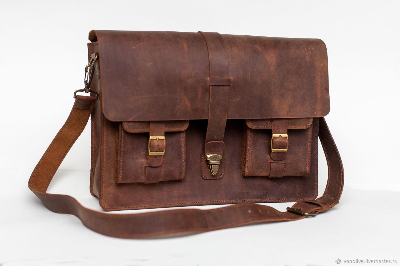 6621f869c7b9 Купить Сумка из натуральной кожи Мужские сумки ручной работы. Сумка из натуральной  кожи крейзи хорс ручной работы.