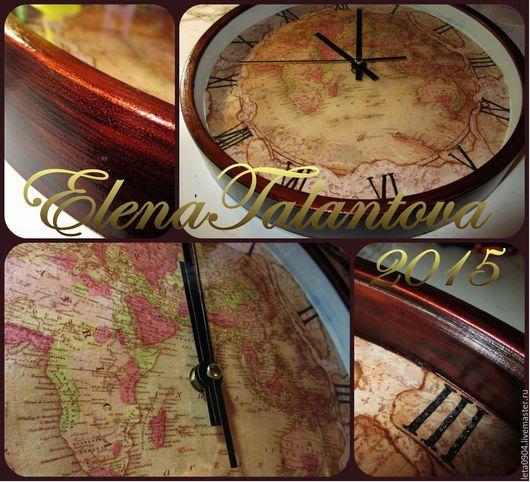 """Часы для дома ручной работы. Ярмарка Мастеров - ручная работа. Купить Часы """" Карта мира"""". Handmade. Коричневый, кухня"""