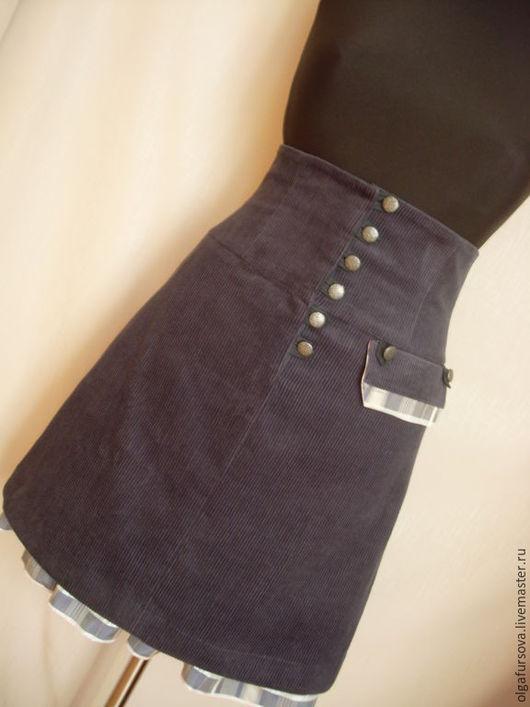 Юбки ручной работы. Ярмарка Мастеров - ручная работа. Купить Вельветовая юбка с высокой талией. Handmade. Тёмно-синий, оборка