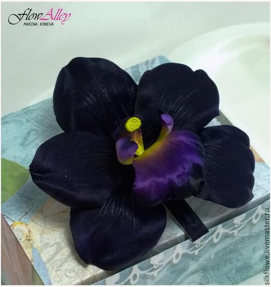 """Цветы ручной работы. Ярмарка Мастеров - ручная работа. Купить Шелковая орхидея  """"Midnight"""" - Полночь. Цветы из шелка.. Handmade. Орхидея"""