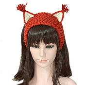 Аксессуары handmade. Livemaster - original item Headband with ears Squirrel, knitted hair red. Handmade.