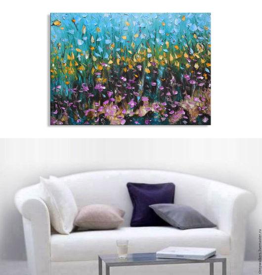 """Абстракция ручной работы. Ярмарка Мастеров - ручная работа. Купить """"Morning Bloom"""" 100х70 см картина маслом мастихином на холсте. Handmade."""