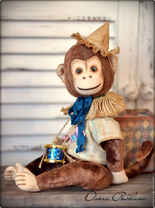 Мишки Тедди ручной работы. Ярмарка Мастеров - ручная работа. Купить авторская обезьянка тедди Рик.. Handmade. Коричневый, хлопок