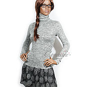 Одежда ручной работы. Ярмарка Мастеров - ручная работа Платье-водолазка с юбочкой-воланом /серый меланж. Handmade.