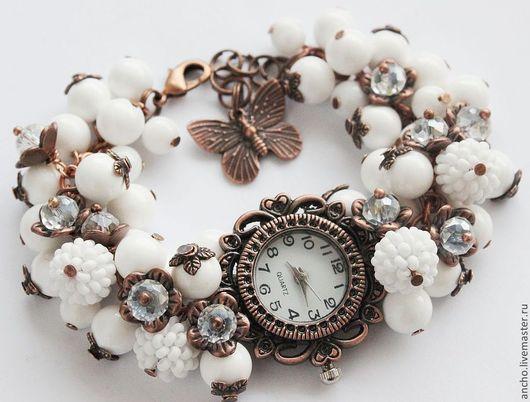 """Часы ручной работы. Ярмарка Мастеров - ручная работа. Купить Часы """"Белый агат+медь"""". Handmade. Белый, часы-браслет"""