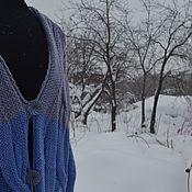 """Одежда ручной работы. Ярмарка Мастеров - ручная работа Кардиган вязаный  """"Синий ирис""""  синий, голубой. Handmade."""