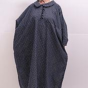 Платья ручной работы. Ярмарка Мастеров - ручная работа Свободное платье в горошек из джинсовой ткани большого размера. Handmade.