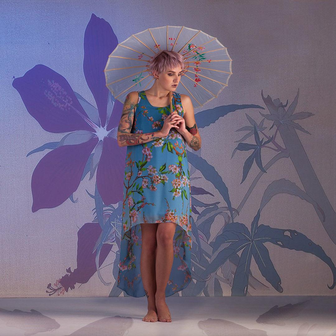 Chiffon Sleeveless Hi Low Dress «Sakura», Dresses, Rostov-on-Don,  Фото №1