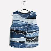 Одежда ручной работы. Ярмарка Мастеров - ручная работа Жилет валяный в синих тонах. Handmade.