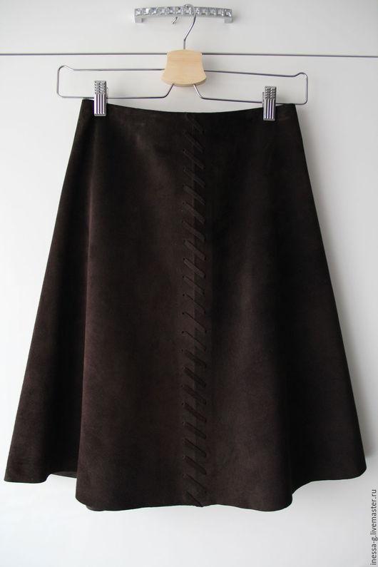 Юбки ручной работы. Ярмарка Мастеров - ручная работа. Купить Замшевая юбка цвета горького шоколада. Handmade. Коричневый