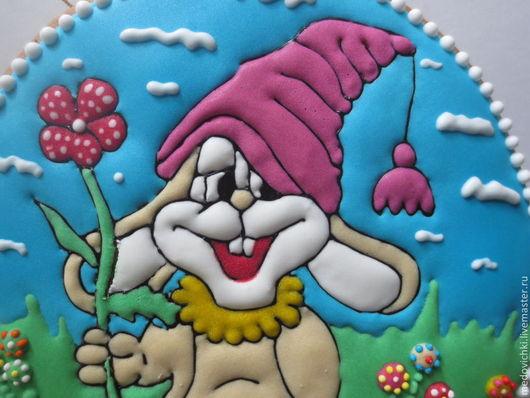 Кулинарные сувениры ручной работы. Ярмарка Мастеров - ручная работа. Купить Пряник Весёлый заяц. Handmade. Подарок ребенку