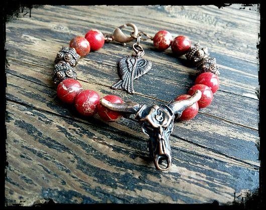 Украшения для мужчин, ручной работы. Ярмарка Мастеров - ручная работа. Купить Мужской браслет из натуральных камней RED BULL. Handmade.