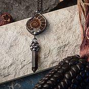 Украшения handmade. Livemaster - original item Pendant with Ammonite and smoky quartz crystal. Handmade.