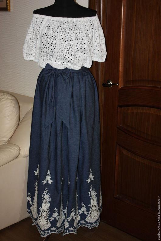 """Платья ручной работы. Ярмарка Мастеров - ручная работа. Купить Платье """"Дуэт"""". Handmade. Белый, вышитый батист, джинсовое платье"""