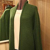 """Одежда ручной работы. Ярмарка Мастеров - ручная работа Кардиган """"Изумруд соты""""   с длинным рукавом. Handmade."""