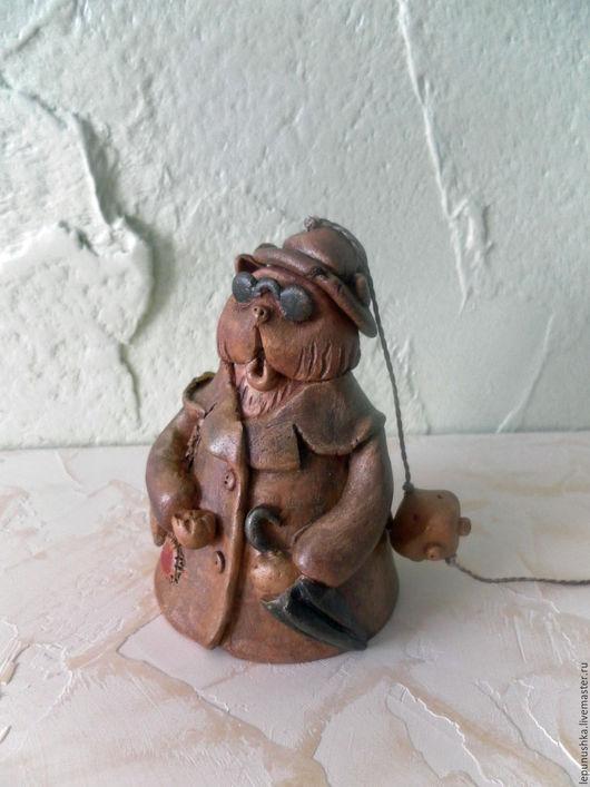 Колокольчики ручной работы. Ярмарка Мастеров - ручная работа. Купить Колокольчик из глины кот Базилио. Handmade. Коричневый, русский сувенир