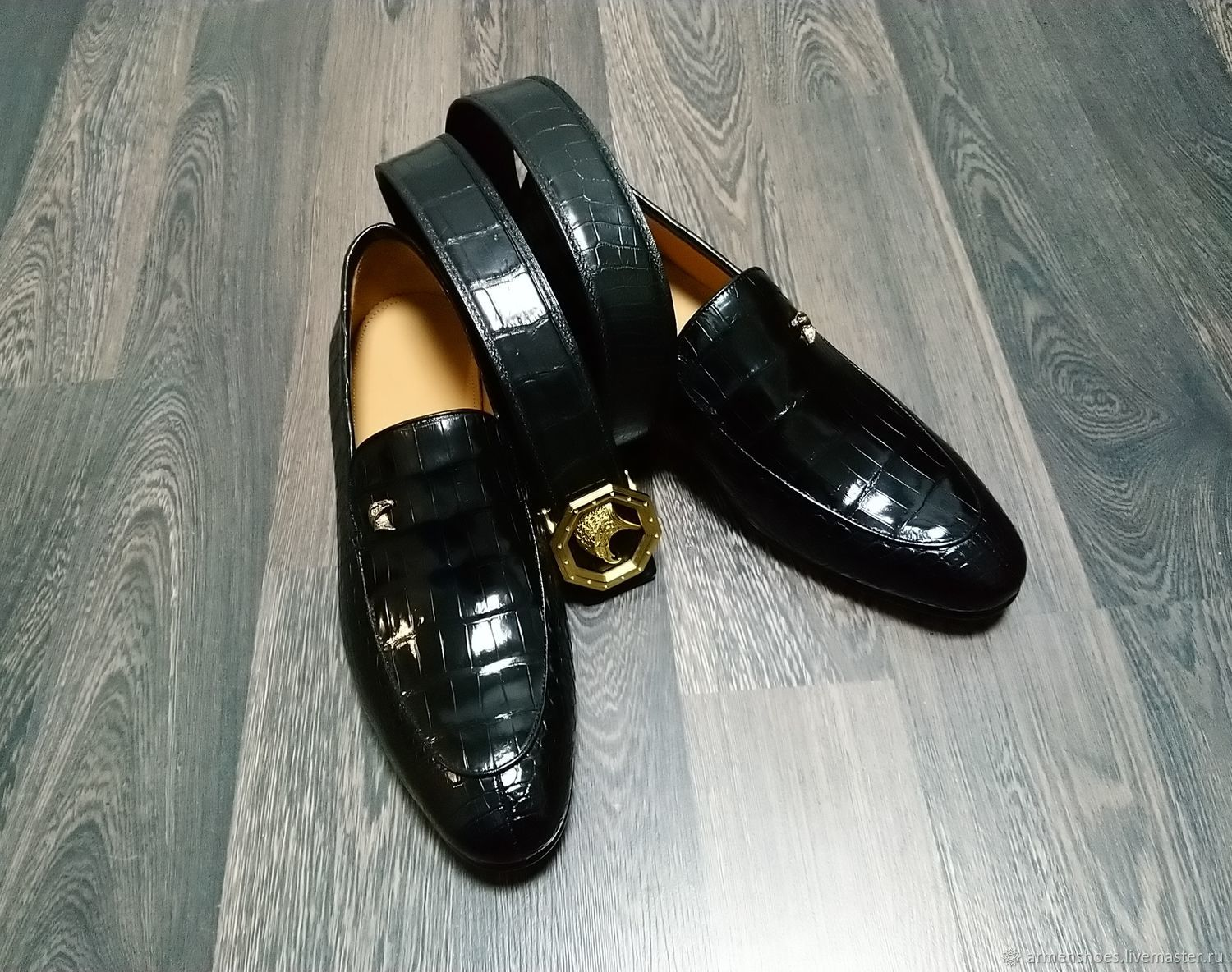 Loafers and belt made of genuine crocodile leather, gift set!, Loafers, Tosno,  Фото №1