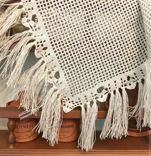 Текстиль, ковры ручной работы. Ярмарка Мастеров - ручная работа. Купить Салфетка с кистями. Handmade. Бежевый, для дома и интерьера