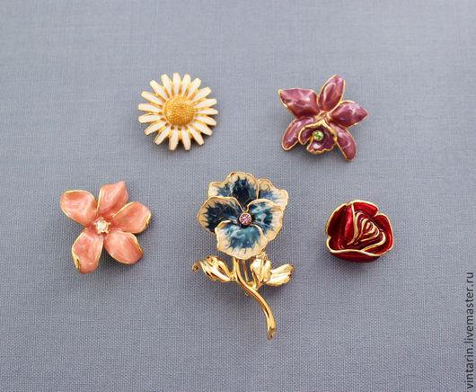 Брошь винтажная цветок `5 в 1` от `Joan Rivers` с цветными эмалями, винтажная брошь трансформер.